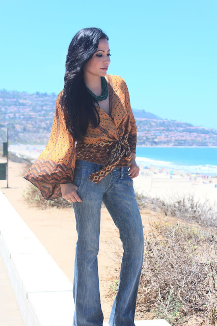 Joanna Joy A Stylish Love Story Blog petite fashion blogger lifestyle blogger beach photo california beaches Frankie B. denim African inspired print kimono top green necklace long black hair Califoria fashion blogger boho chic global chic global fashion