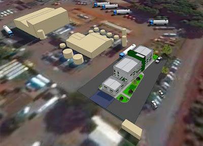 A maquete virtual apresenta o projeto da nova sede administrativa da NTA em Paulínia, se destacando em relação a sua fábrica, uma das quatro no Brasil que utiliza borracha triturada de pneus usados como parte da composição do asfalto.