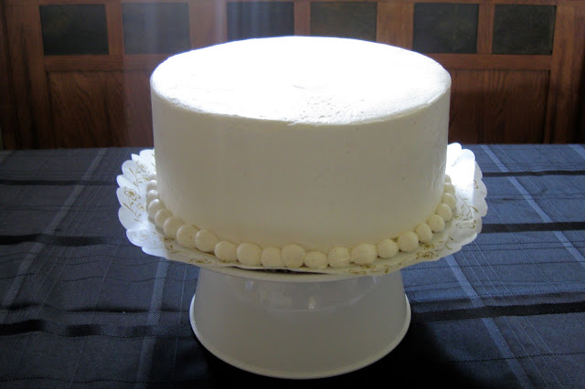 This is a plain white cake we bought from our favorite bakery.