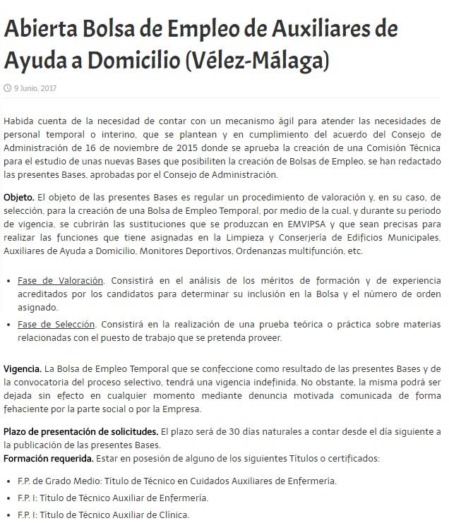 Blog de salva jim nez bolsa de empleo auxiliares de for Oficina de empleo velez malaga