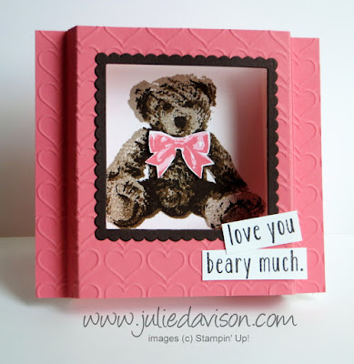 SNEAK PEEK: Stampin' Up! Baby Bear Diorama Card + Video Tutorial #stampinup www.juliedavison.com