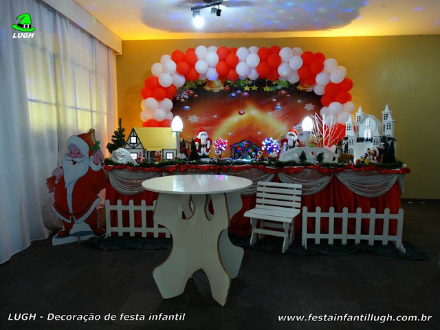 Decoração  de mesa infantil tema de Natal ou Papai Noel
