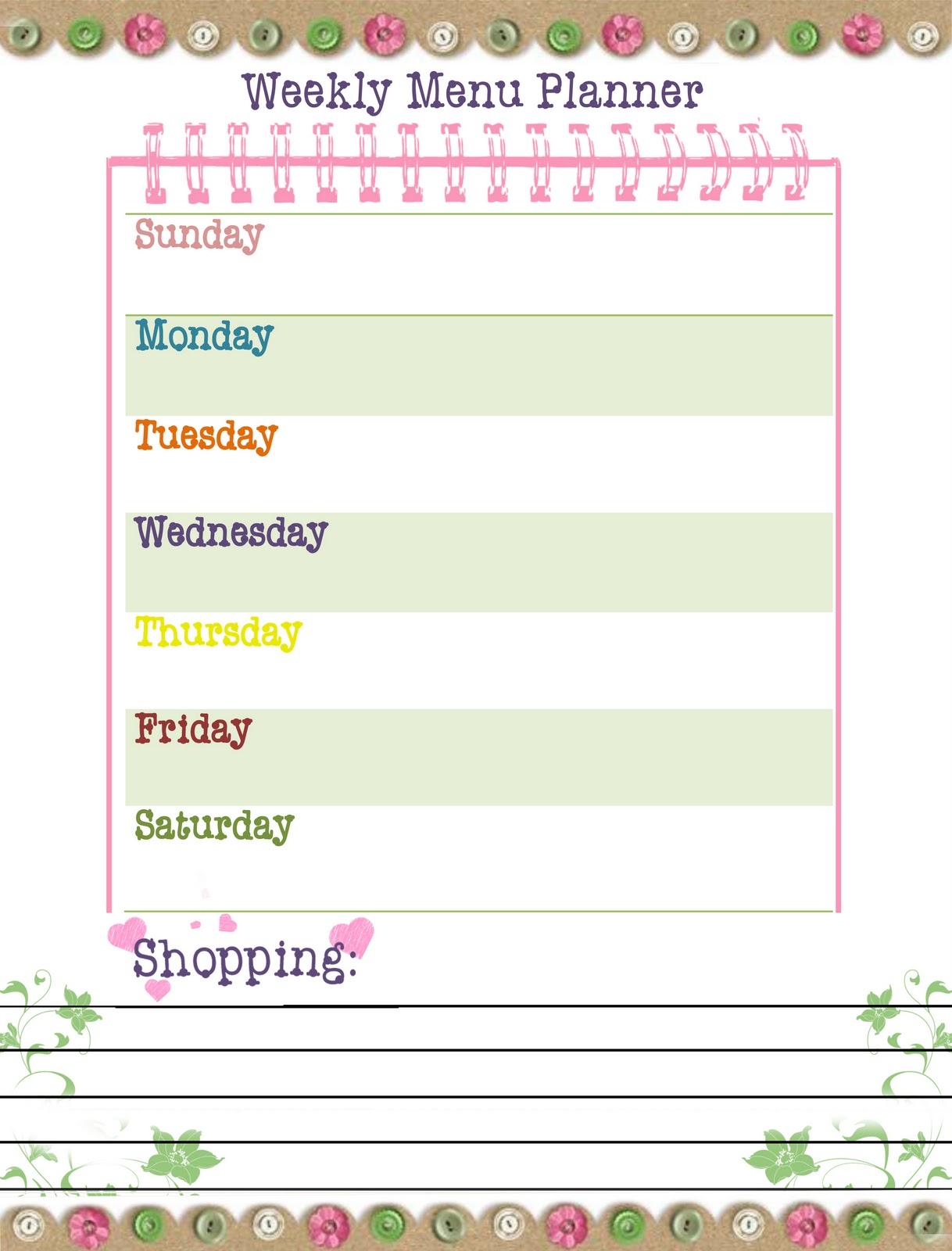 weekly menu template free weekly menu templates 6 printable menu – Free Weekly Menu Templates