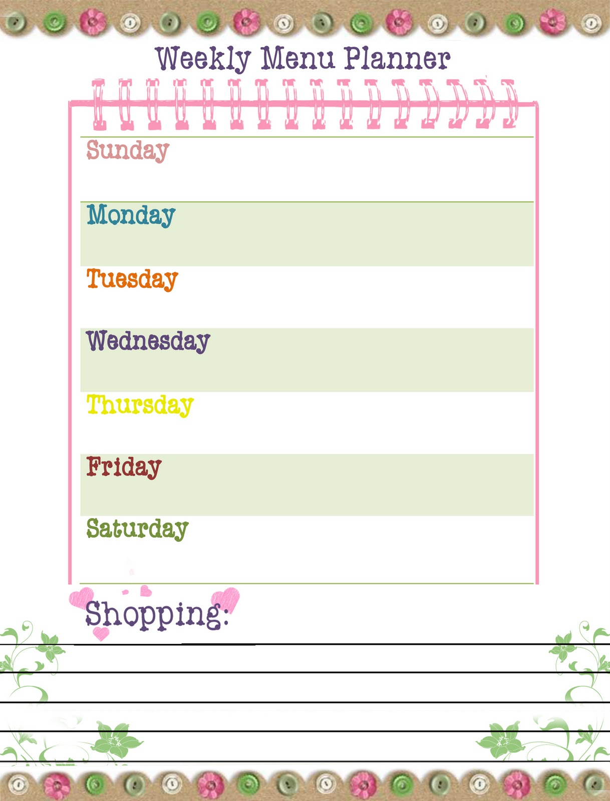 Our Way To Learn Weekly Menu Planner Free Printable
