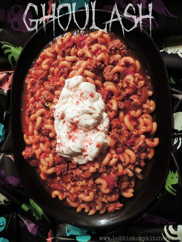 This easy to make goulash recipe is the perfect weeknight meal for all of your little ghouls! #halloween #goulash #pasta #easy #recipe | bobbiskozykitchen.com