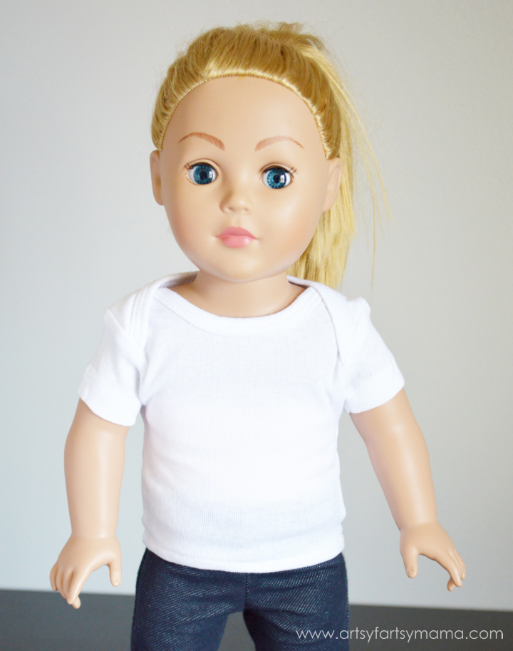 Turn a onesie into an 18 inch doll t-shirt at artsyfartsymama.com