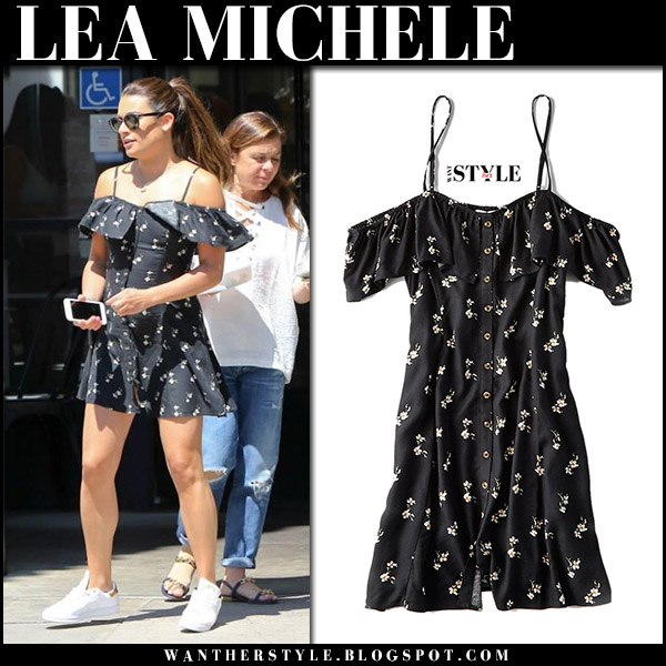 Lea Michele in black printed off shoulder mini dress celebrities in american eagle august 22 2017