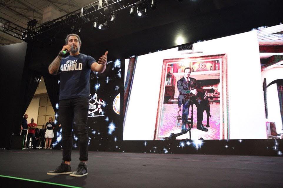 Marcos Mion apresenta a cerimônia de abertura do Arnold Sports Festival South America 2018. Foto: Rodrigo Dod/Savaget