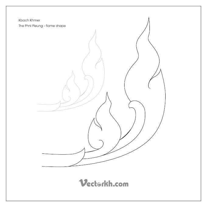 Kbach Khmer The Phni Pleung - flame shape free vector by vectorkh.com