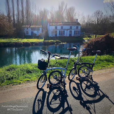 French Village Diaries Brompton bicycles in France #KTTinyTourer 2019 cycling challenge