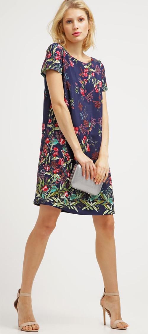 Robe courte en viscose bleue à fleurs Esprit Collection