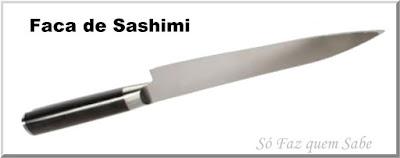 Foto de uma Faca de Sashimi e Sushi que em inglês chama-se Sashimi Knife