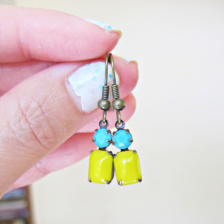 image summer earrings vintage glass stones turquoise blue yellow summery two cheeky monkeys