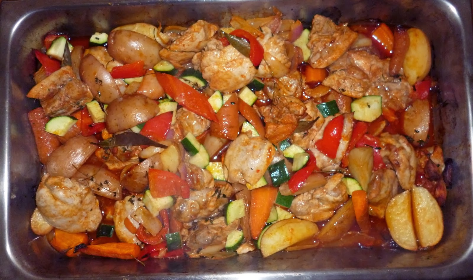 Simmer seasoned chicken breast pieces, veggies, and rice together in a tomato and wine-based sauce for a flavorful and low-fat one-dish meal. Top the finished dish with chopped olives for a Spanish flair.