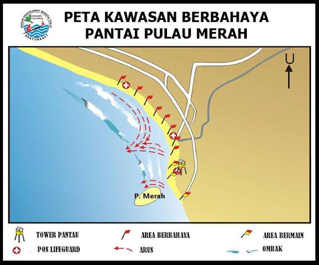 Peta kawasan berbahaya Pantai Pulau Merah, Banyuwangi.