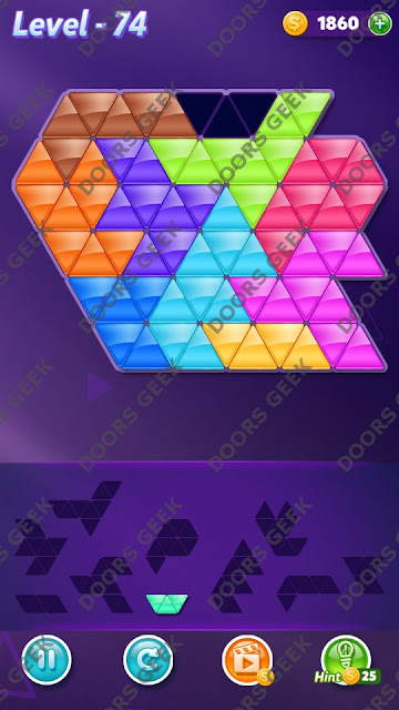 Block! Triangle Puzzle Master Level 74 Solution, Cheats, Walkthrough for Android, iPhone, iPad and iPod
