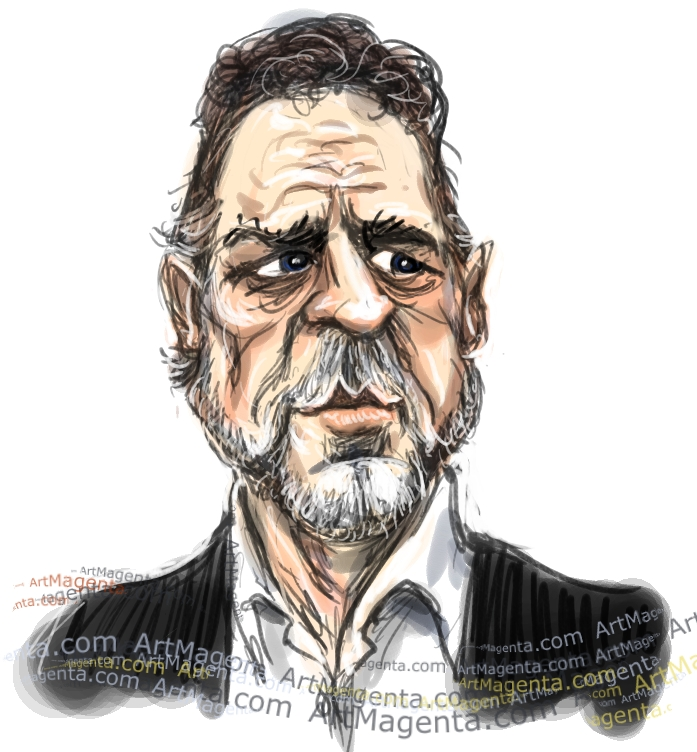 Russell Crowe caricature cartoon. Portrait drawing by caricaturist Artmagenta
