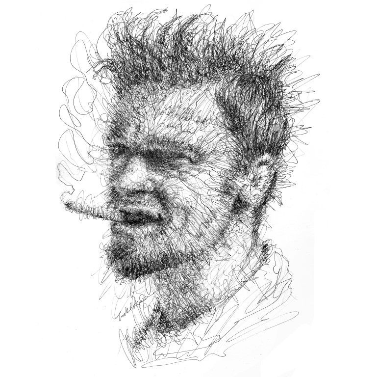 09-Brad-Pitt-Erick-Centeno-Superheroes-Celebrities-and-Cartoons-Scribble-Drawings-www-designstack-co