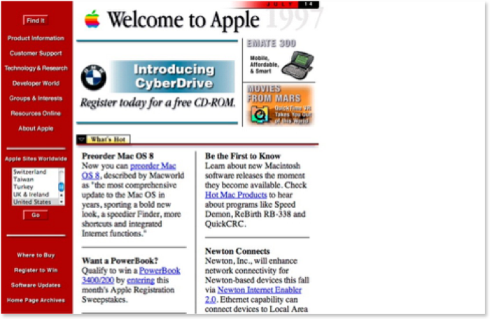 screenshot sito apple nel 1997