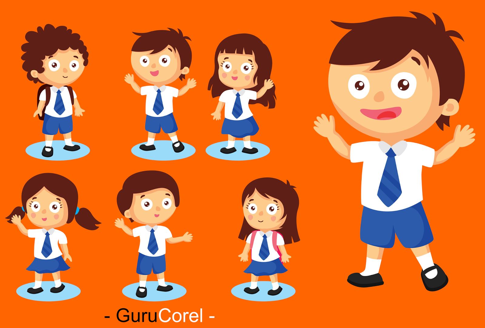 Cara Menggambar Kartun ANAK SEKOLAH Di Corel DRAW Terbaru Guru Corel