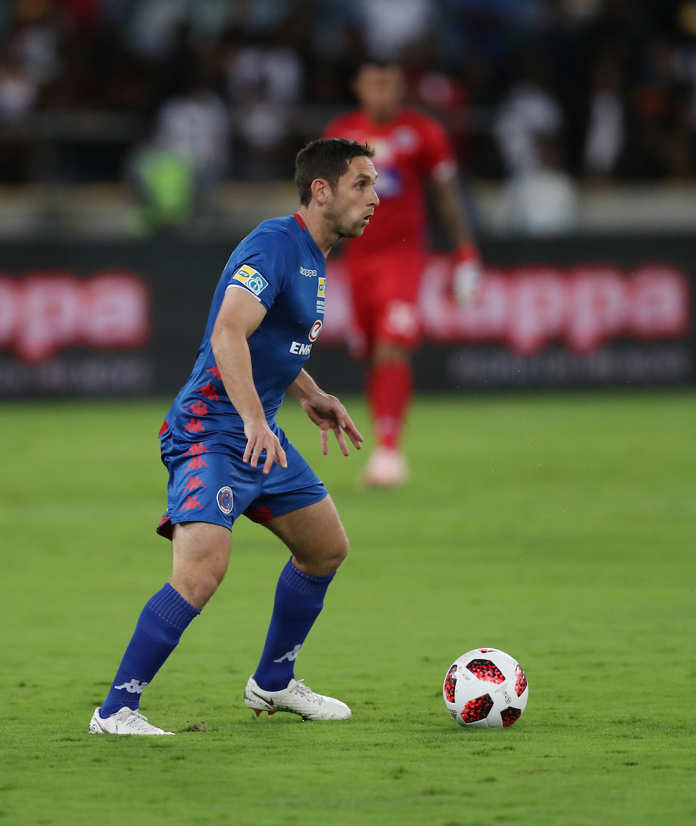 ean Furman (C) of SuperSport United during the 2018 MTN8 final match between SuperSport United and Cape Town City at the Moses Mabhida Stadium on 29th September 2018 in Durban, South Africa. (Photo by Steve Haag/)