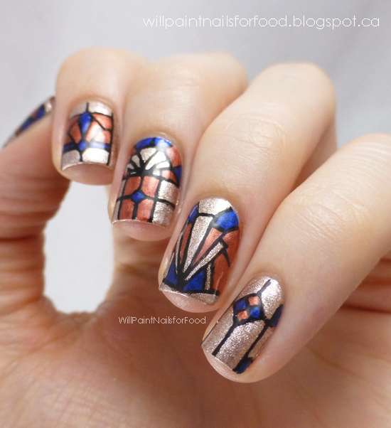 Stained Glass Nail Art: PiCture POlish Blog Fest 2013: Art Deco Stained Glass
