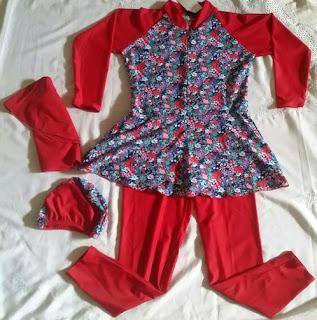 baju renang muslimah anak umur 9 tahun warna merah