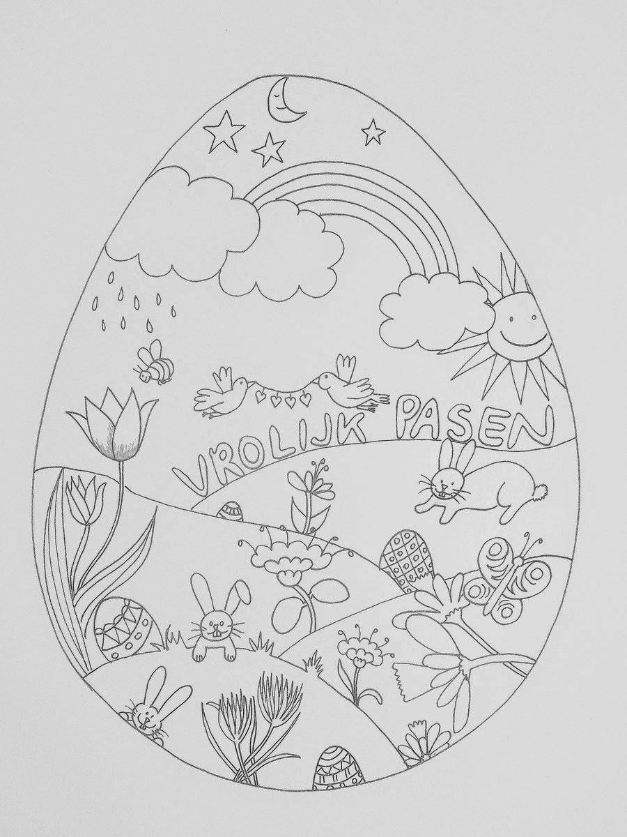 Pasen Kleurplaat Printen Tekenpraktijk De Innerlijke Wereld Lente Paas Ei Tekenen