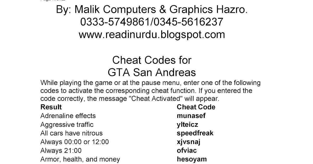 Malik Graphics: GTA <b>Sanandreas Cheat Codes</b>