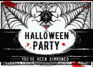 Black and White Halloween Spider Party Invite