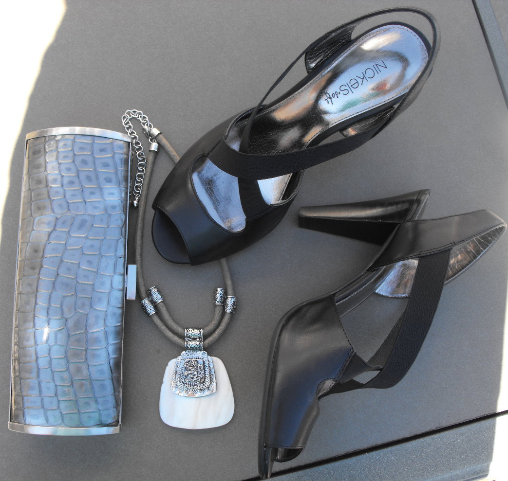 Black sandals belk - The Necklace Is By Erica Lyons From Belk The Black Sandals Are From Stein Mart And The Pewter Clutch Is By Kenneth Cole Reaction Via T J Maxx