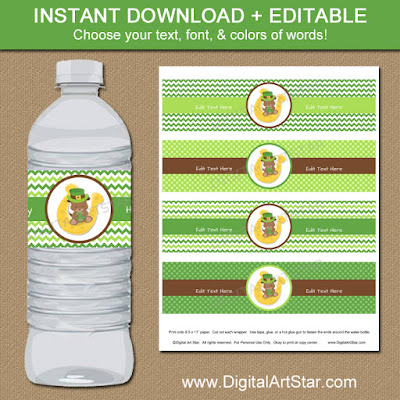 cute St Patricks Day water bottle label template