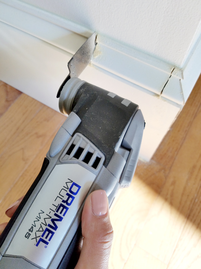 how to cut baseboard in order to install door trim with Dremel Multi Max MM45