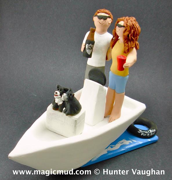 Custom Wedding Cake Toppers Bride And Groom Boat