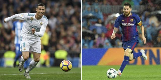 Megabintang Real Madrid, Cristiano Ronaldo, dan ujung tombak FC Barcelona, Lionel Messi.