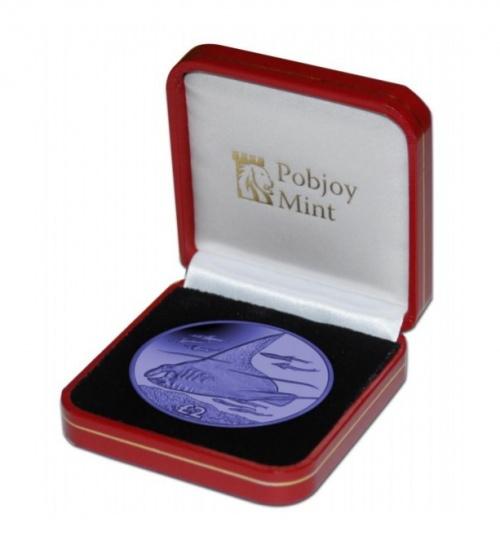 2018 British Indian Ocean Territory Blue Manta Ray Titanium Coin w//box COA