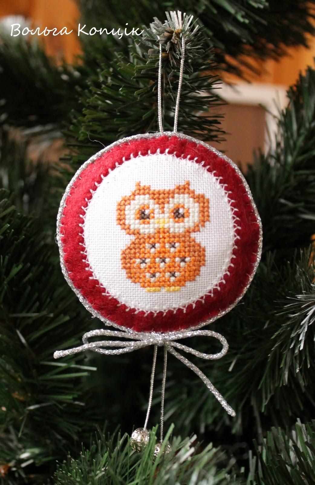 Игрушки с вышивкой на елку
