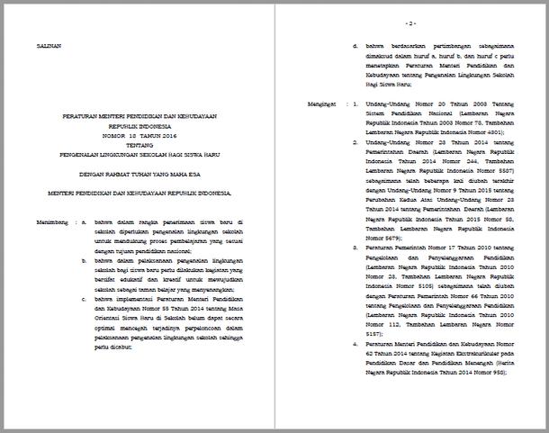 Permendikbud Nomor 18 Tahun 2016 Tentang Pengenalan Lingkungan Sekolah Bagi Siswa Baru