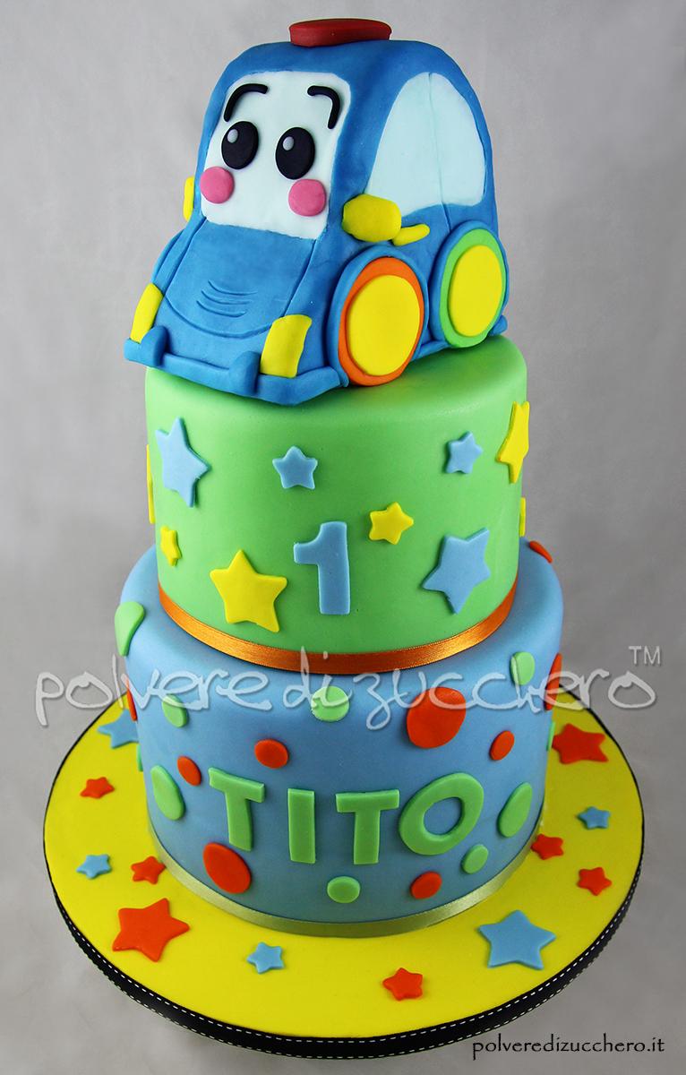 compleanno polvere di zucchero cake design torta a piani baby boy bday car macchinina