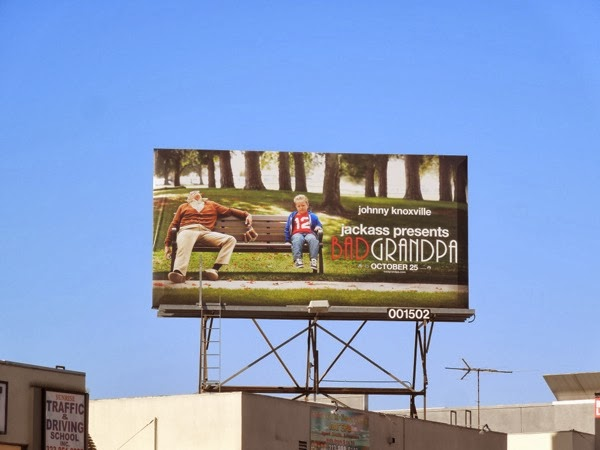Bad Grandpa drunken park bench billboard