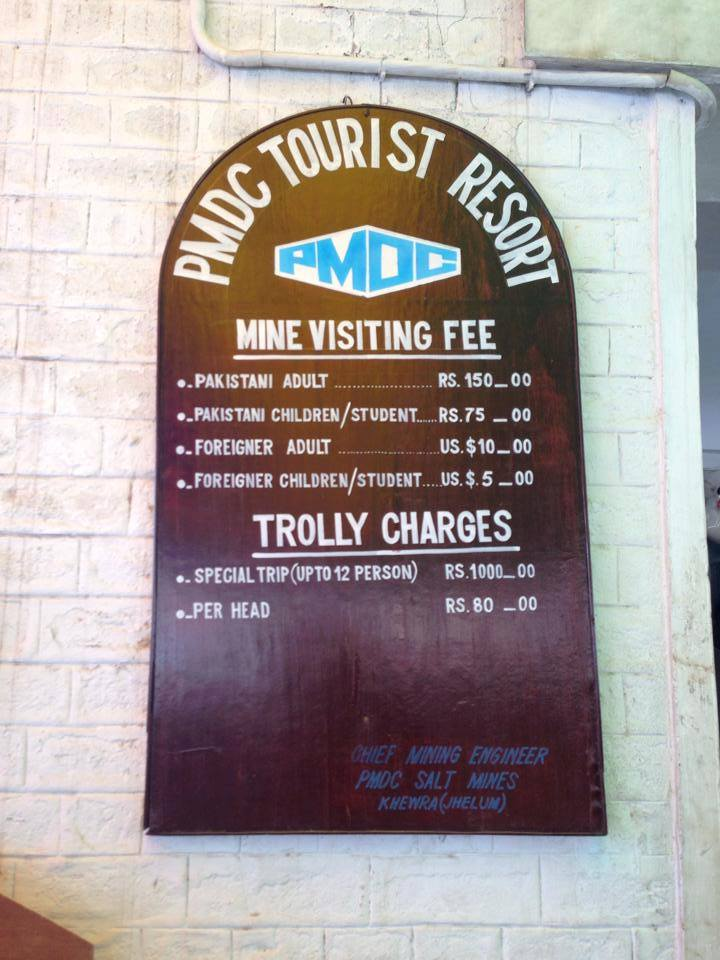Entry Charges details for the visitors to Khewra Salt Mines