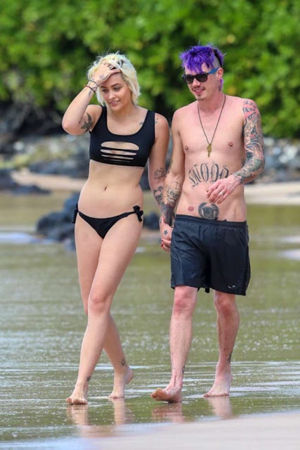 Paris Jackson in Black Bikini at a Beach in Maui