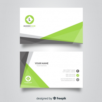 Contoh Kartu Nama - Business Card Template With Abstract Shapes
