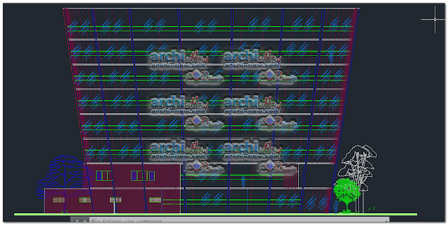 Vertical projections of the project (sections ( Hotel accommodation Dwg