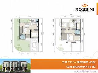 Denah rumah cluster Rossini tipe L7 Premium Hoek