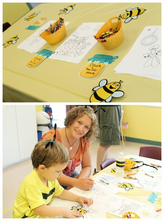 bee themed coloring station
