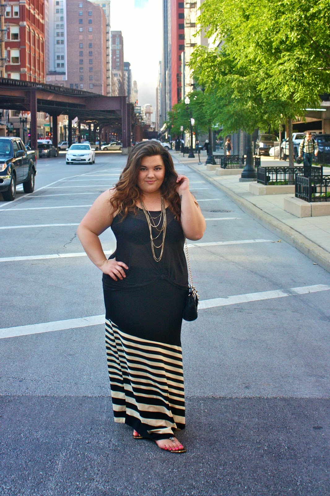 stylzoo, plus size fashion blogger, plus size fashion, Forever21, gold chain, see through, maxi skirt, stripes, summer fashion, natalie craig, natalie in the city, chicago, black ensemble, all black everything, plus size retailer, ootd, outfit of the day, spikes, clutch, H&M, curly hair, ombre hair