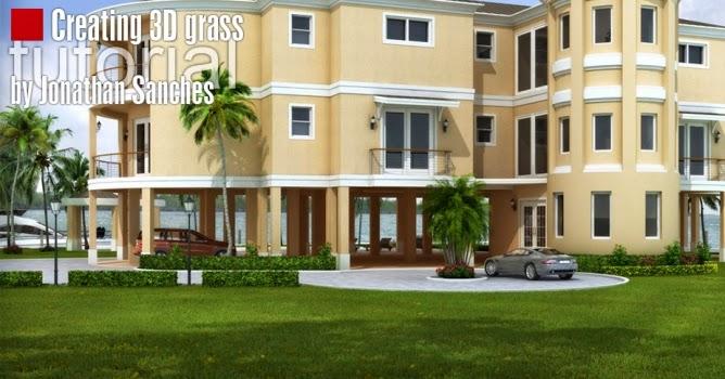 creating 3d grass 3d max tutorial for interior design