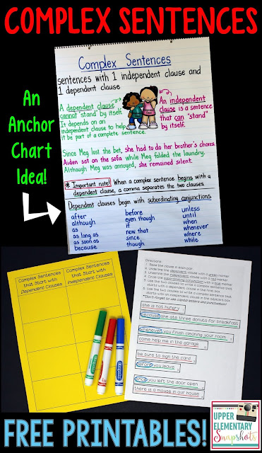 Exploring Complex Sentences: This blog post features a FREE writing activity, plus an anchor chart that focuses on complex sentences.