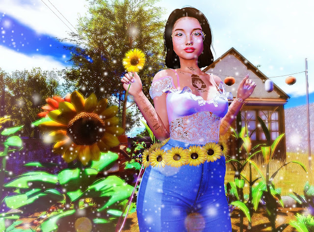 cute, japanese, girl, Gwin Leshelle, Blog, Second Life, Sunflowers,